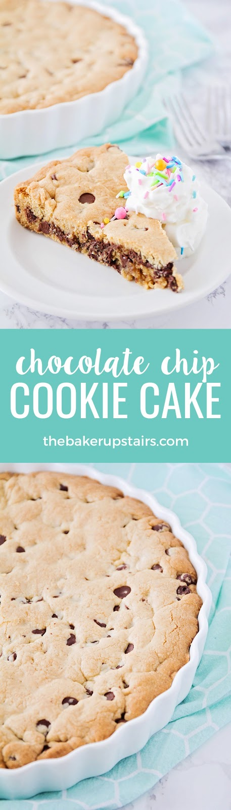 This delicious chocolate chip cookie cake is so easy to make, and perfect for any occasion!
