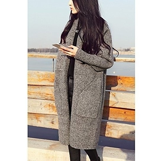 Winter Casual Loose Long Pocket Wool Knitted Sweater Cardigan Coat
