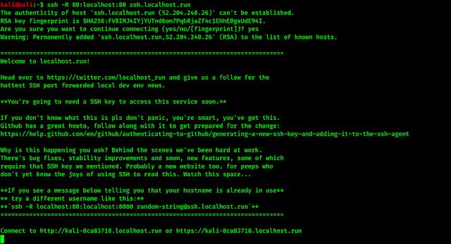 port forwarding using SSH localhost.run method
