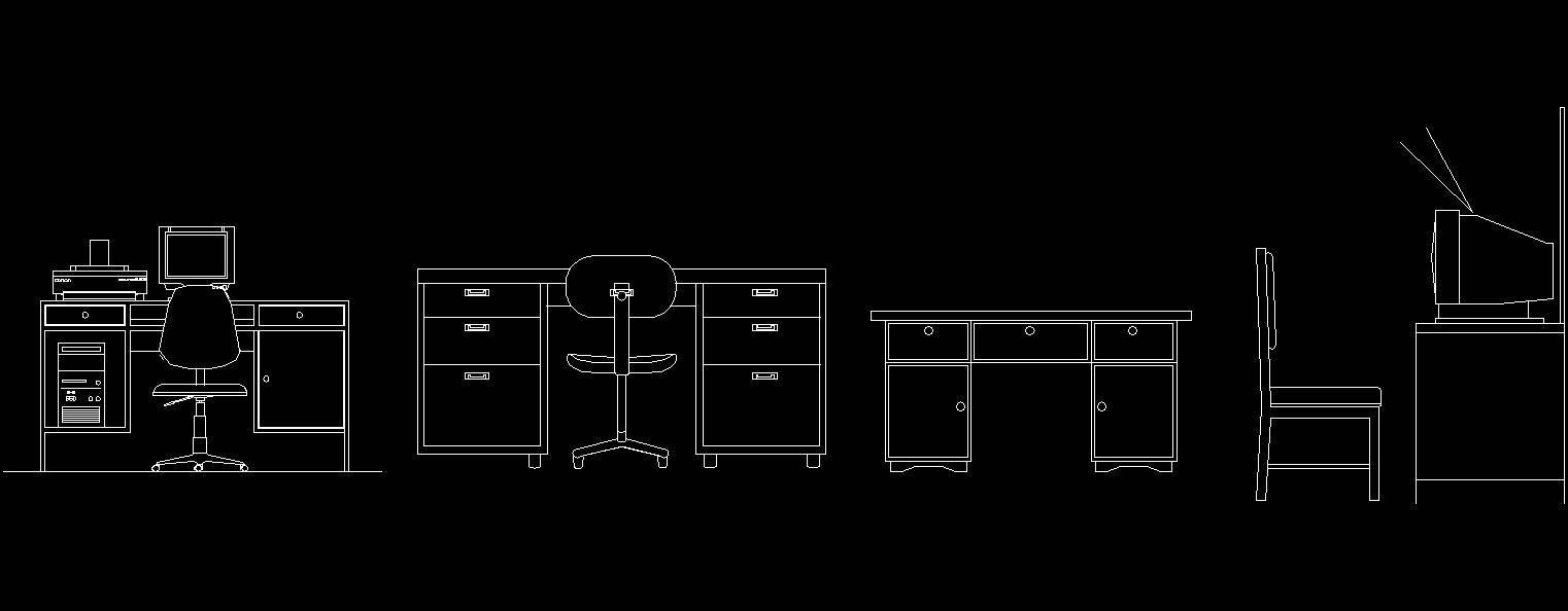 Audacieuse Bureau equipements en plan et elevation Blocs AutoCad DWG QF-64