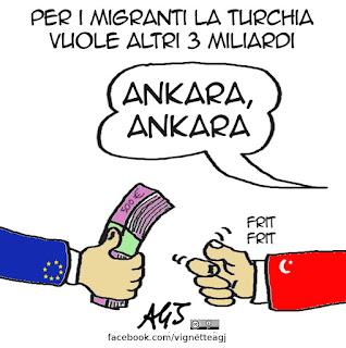 turchia, ue, ankara, migranti, profughi, vignetta satira