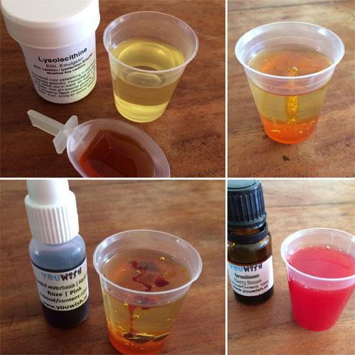lysolecithine om water en olie te mengen voor badolie