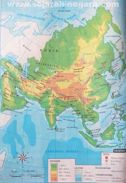Peta dataran dan perairan sanggup anda lihat pada kotak LEGENDA berupa angka yang tertera Peta Atlas Benua Asia 2019