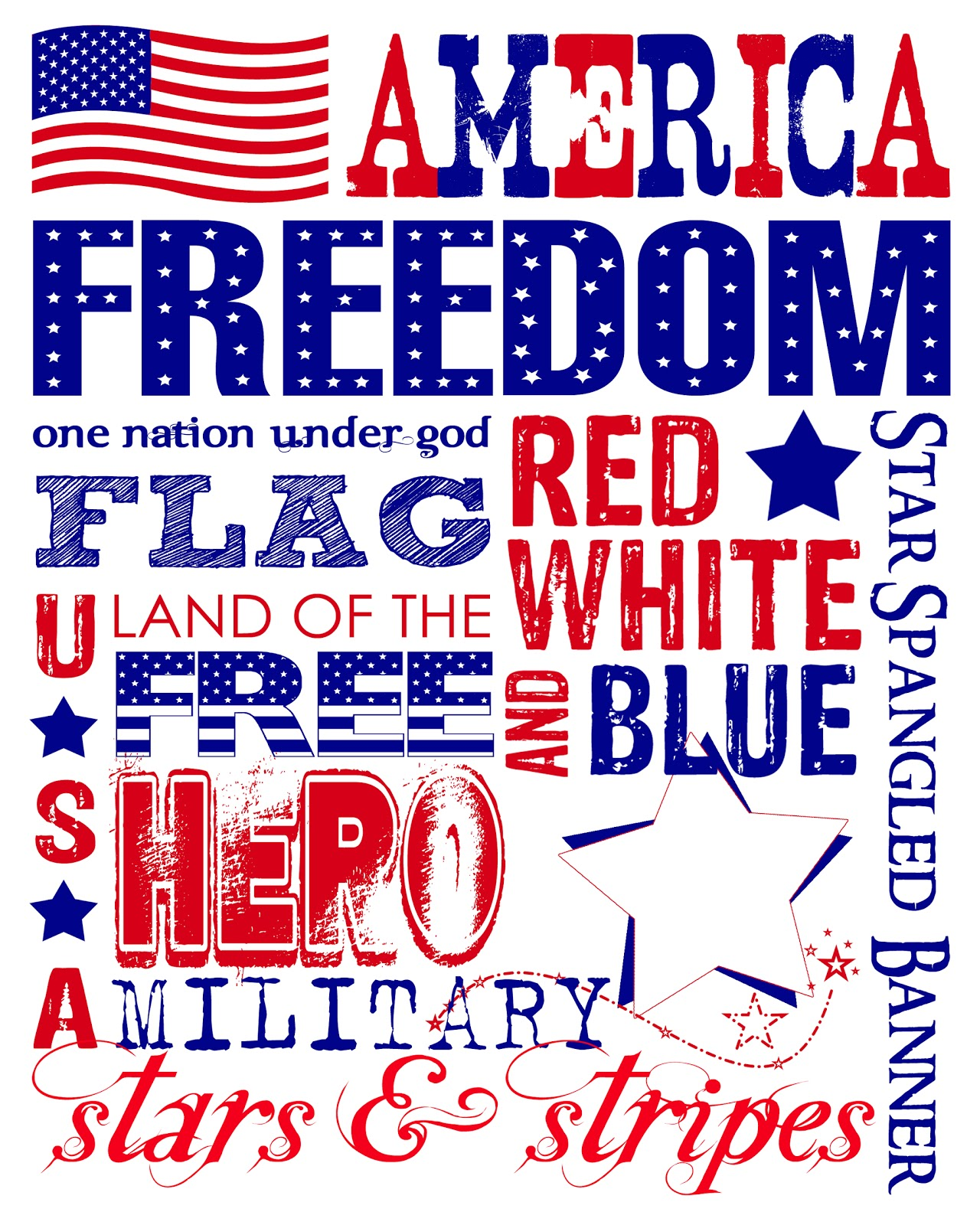 The Perfect Card Freebie Printable Patriotic Subway Wall Art