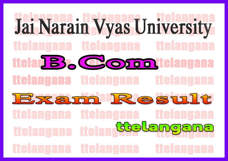 Jai Narain Vyas University B.Com Ist IInd IIIrd Year Result