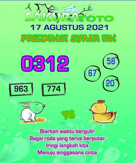 Syair HK Selasa 17 Agustus 2021 -