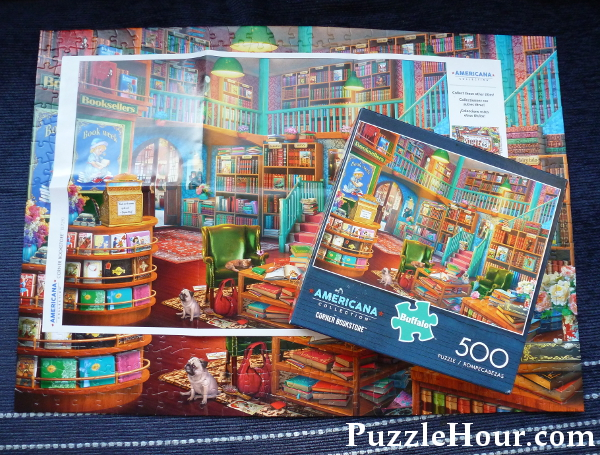 Corner bookstore Buffalo Games Americana jigsaw puzzle Eduado poster, box, completed jigsaws