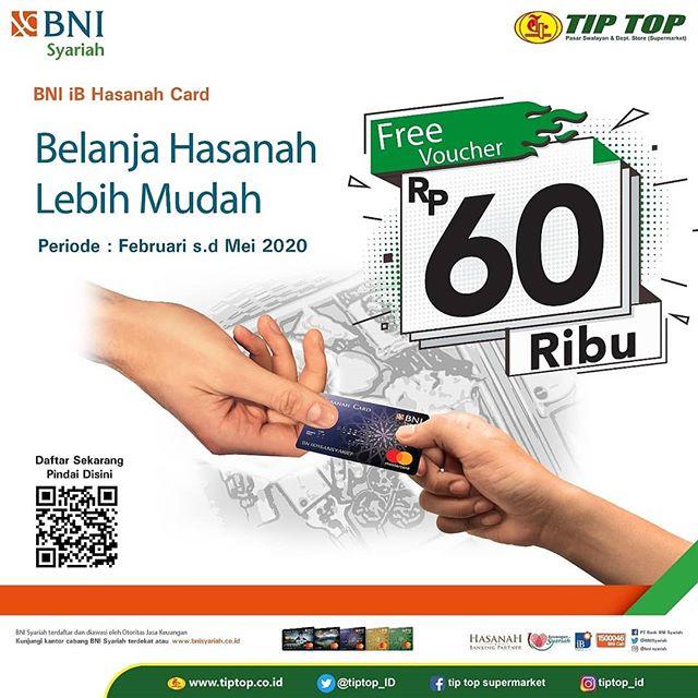 #TipTop - #Promo Belanja Min 600K Pakai BNI Syariah Dapat Voucher 60K (s.d 31 Mei 2020)