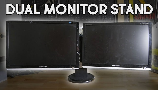 homemade diy dual monitor stand computer lcd screen desk