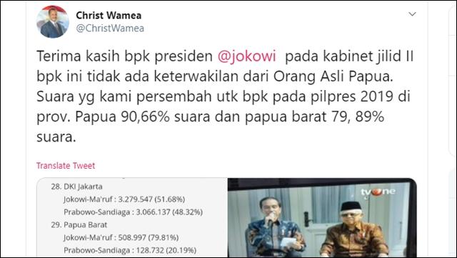 Tokoh Papua: Terimakasih Pak Jokowi, Kabinet Jilid II Tak Ada Keterwakilan Orang Asli Papua