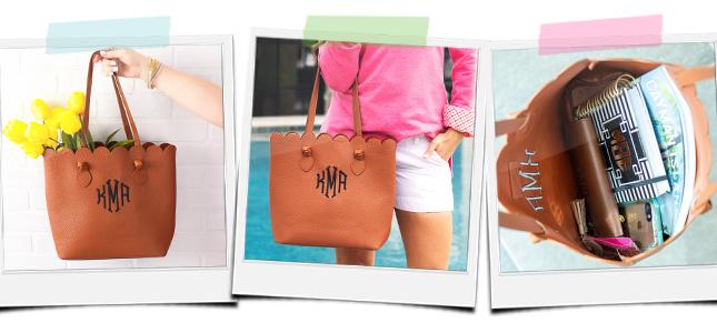monogrammed scalloped bag