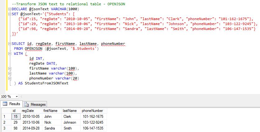 SQL Server 2016: Built-In JSON Support