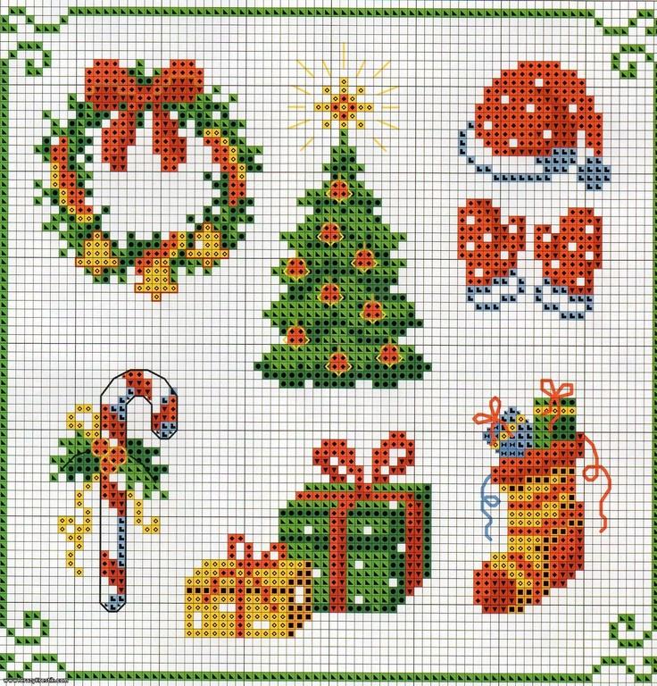 Papa noel y flores navidad punto de cruz mantelerias - Blog de imágenes
