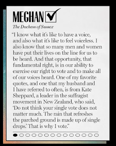 """The Duchess of Sussex participated in a Marie Claire Magazine article by writer Rachel Epstein titled """"100 Influential Women on Why They're Voting in the 2020 Election"""""""