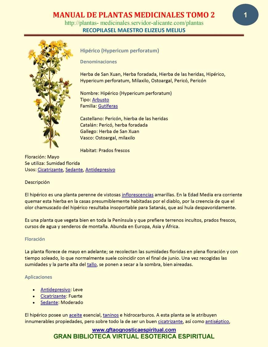 Manual de plantas medicinales, Tomo 2