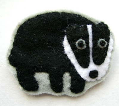 felt badger brooch