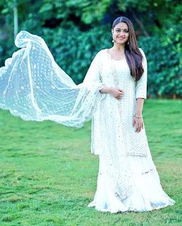 Keerthy Suresh White Dress Stills