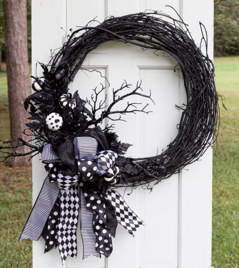 Halloween Wreath with Multi-Ribbon Bow and black painted stick tree