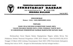 Pengumuman Hasil Tes SKD CPNS 2019 Kabupaten Batanghari Provinsi Jambi