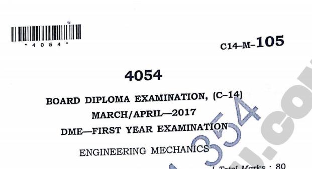 Diploma sbtet engineering mechanics model question paper march/april 2017 c14