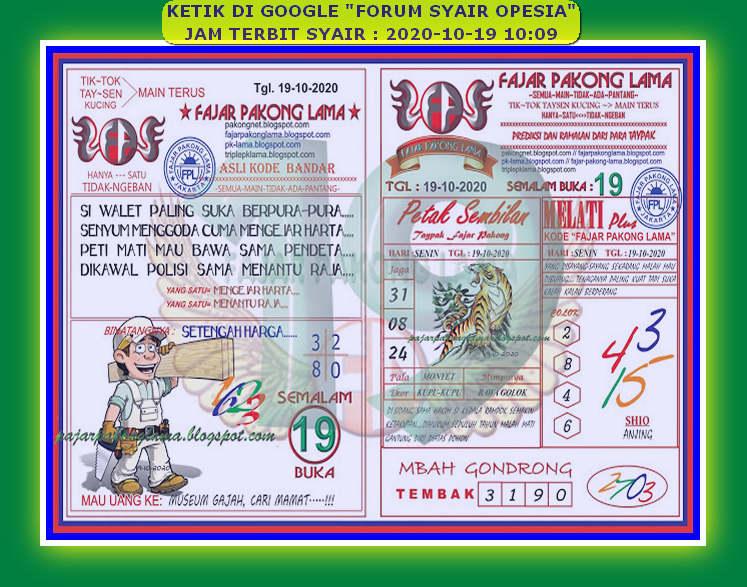 Kode syair Hongkong senin 19 oktober 2020 155