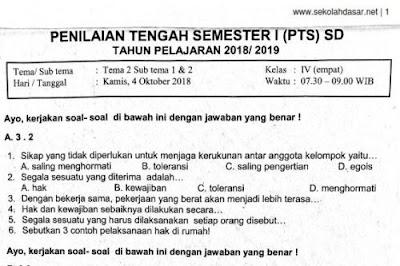 soal UTS atau Penilaian Tengah Semester  Soal Ulangan PTS Kelas 4 Tema 2 Subtema 1 & 2