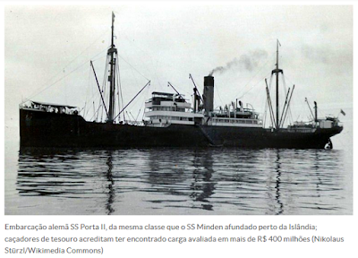 Navio da Alemanha nazista que saiu do Brasil em 1939 é encontrado na Islândia