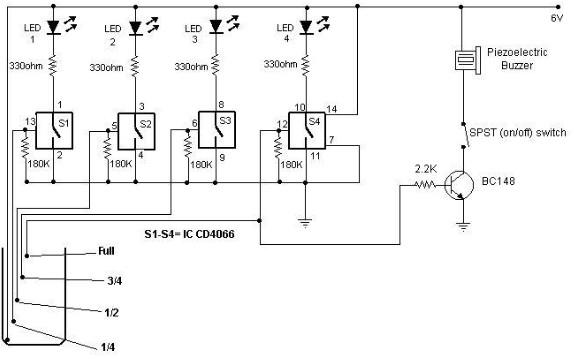 Water level indicator using cmos ics circuit diagram ccuart Choice Image
