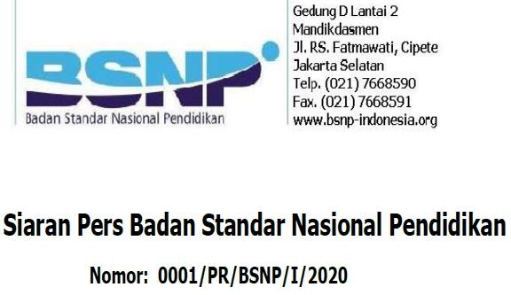 Siaran Pers Badan Standar Nasional Pendidikan No: 0001/PR/BSNP/I/2020