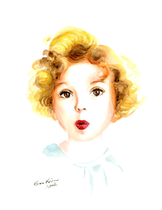 12-Shirley-Temple-Soo-Kim-Celebrity-Watercolor-Portraits-www-designstack-co