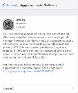 Apple rilascia iOS 13.