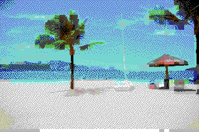 Commodore 64 art beach scene pixel art