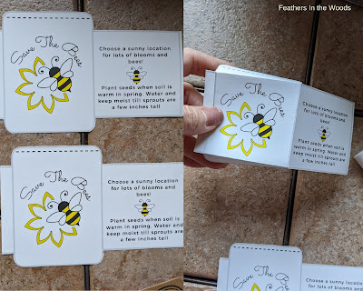 How to cut out and fold save the bees seed packets from PDF file.