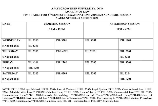 Ajayi Crowther University Exam Timetable 2nd Semester 2019/2020
