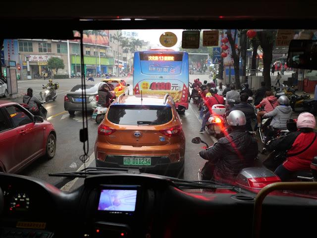 view from a Jumbo Wuzhou Bus on Fumin Road (阜民路)