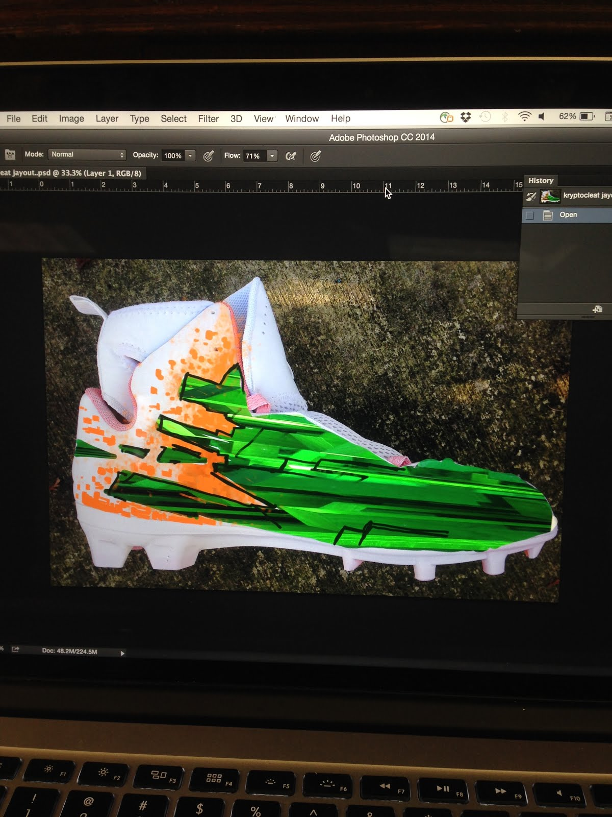 1fca99d16809 Kryptonite cleats for Von Miller and Texas A M. Here are some process shots  of me working on the Von Miller Kryptonite cleats. These were fun to do.