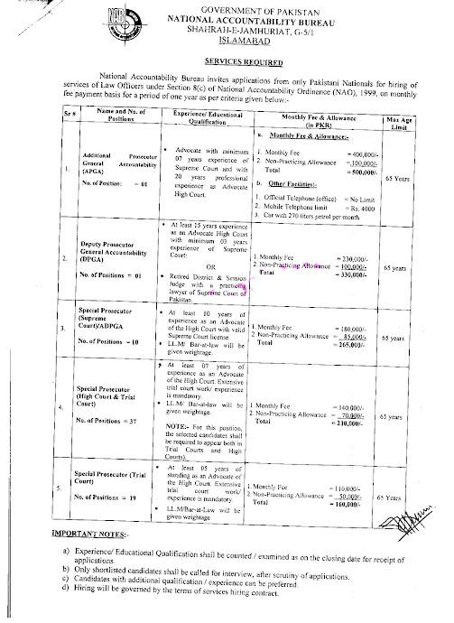 Latest Jobs in National Accountability Bureau  NAB 2021