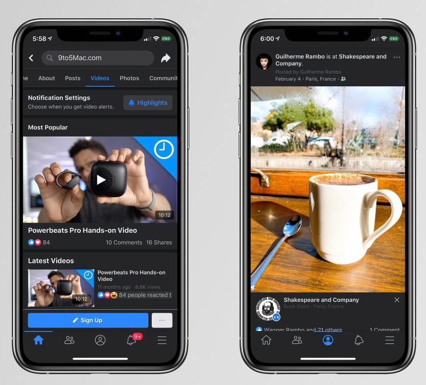 Facebook Dark Mode design on iOS