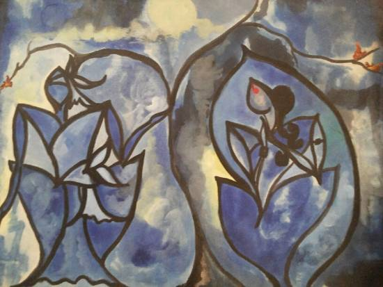 Lovers in the moonlight, painting by Anindita Sengupta (www.indiaart.com)