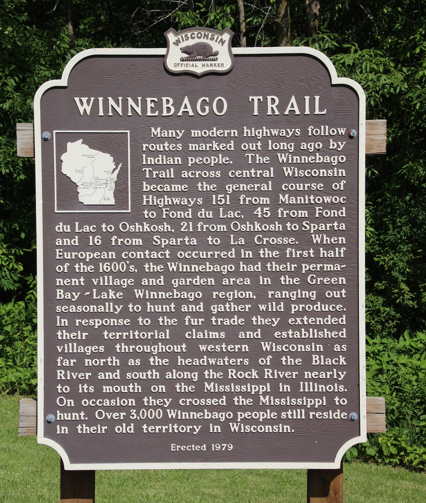 Wisconsin Historical Markers Marker 251 Winnebago Trail