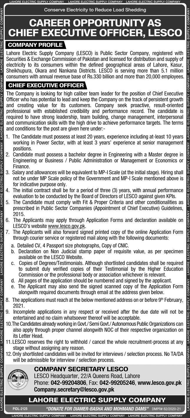 LESCO New Jobs - LESCO Careers - LESCO Jobs 2021 - Lahore Electric Supply Company Jobs 2021 - Online Apply - www.lesco.gov.pk