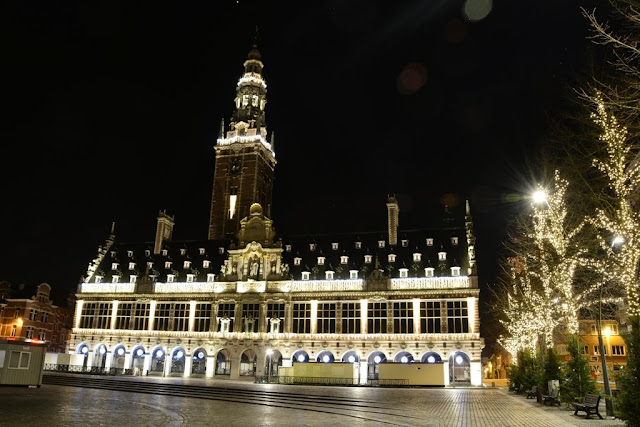 Leuven by night library
