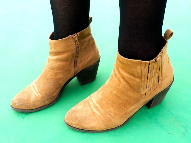 Year Round - outfit shoes details of brown suede material ankle boots with small high heels