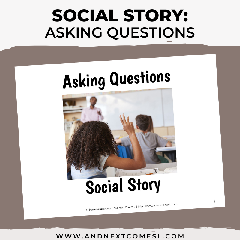 Printable social story for kids with autism about asking questions