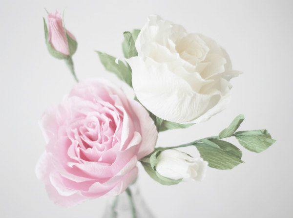 two realistic pink and white crepe paper roses with pink rosebud