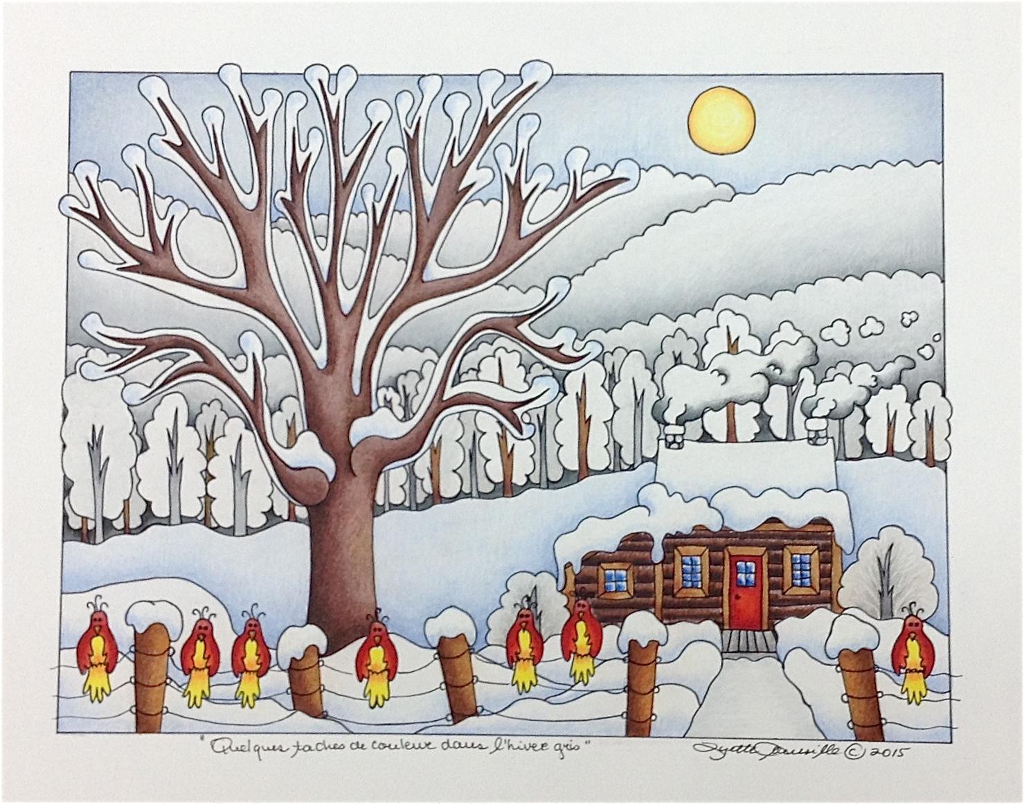 Lyette roussille illustrations quelques taches de couleur dans l 39 hiver gris - Dessin sur l hiver ...