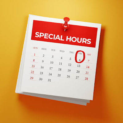 graphic shows a calendar reading special hours