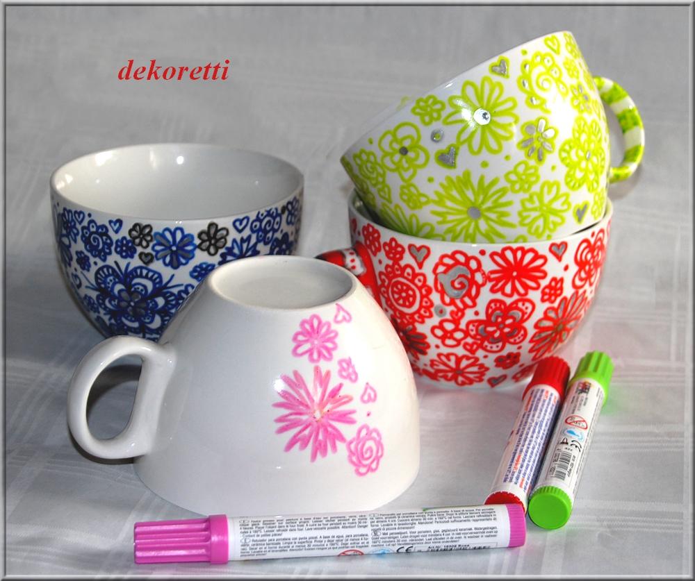 dekoretti s welt aus ein paar einfachen wei en tassen und porzellanmalstiften. Black Bedroom Furniture Sets. Home Design Ideas