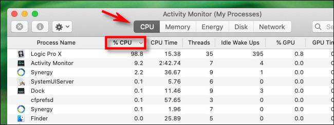 """في مراقب النشاط ، انقر فوق علامة تبويب CPU ورأس العمود """"٪ CPU""""."""