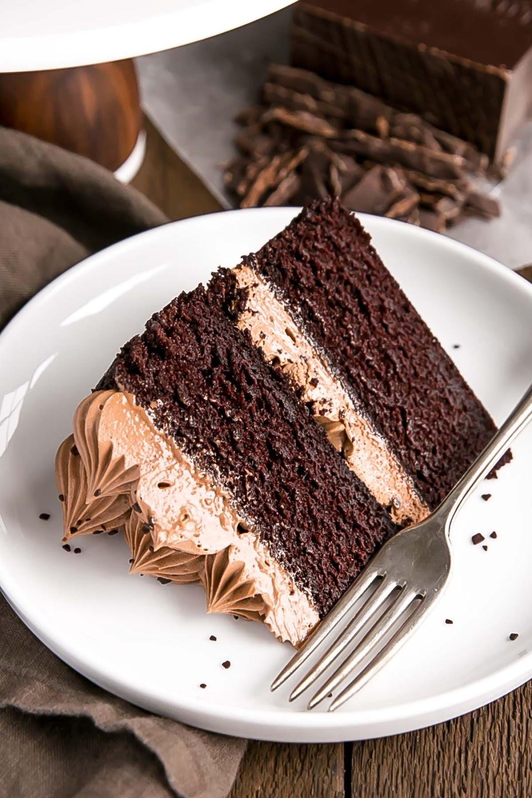moist chocolate cake - French Silk Pie Cake